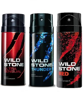 Wild Stone Ultra Sensual, Thunder, Red Body Deodrant 150ml Set of 3