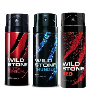 Wild Stone Ultra Sensual, Thunder, Red Body Deodrant 150ml Set of 3