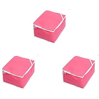Kuber Industries Saree Cover Set of 3 Pcs in Non Woven Material (Pink)