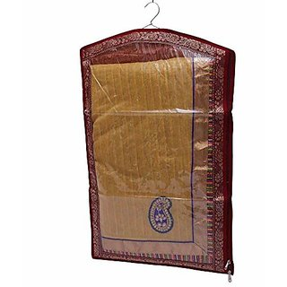 Kuber Industries™ Hanging Saree Cover In Bracade (Wedding Gift)- 6 Pcs Set (Maroon)