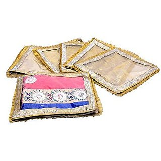 Kuber Industries™ Designer Saree Cover Golden Tissue 6 Pcs Set , Wedding Gift