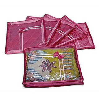 Kuber Industries™ Designer Saree cover 6 Pcs combo in Pink satin, Wedding Collection Gift