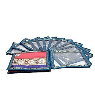 Kuber Industries™ esigner Saree Cover Transparent with Lace 12 Pcs Set, Wedding Gift
