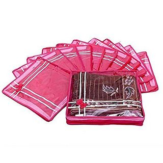 Kuber Industries™ Saree Cover 12 Pcs Combo In Non Wooven Material (Pink)