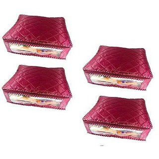 Kuber Industries™ Saree Cover Rexine 4 Pcs Set (Maroon)