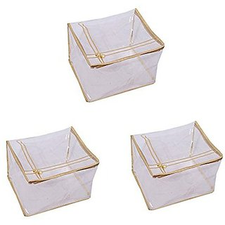 Kuber Industries Transparent Saree Cover (Extra Large Size) Set Of 3 Pcs
