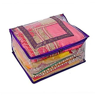 Kuber Industries™ Quilted Transparent Saree Cover (Extra Large Size)