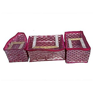 Kuber Industries trade; Saree cover  amp; Blouse Cover  amp; Peticot Cover in pink designer brocade 3 Pcs set