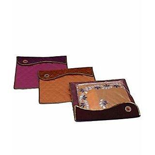 Kuber Industries Designer Broach Flip Saree Cover Set of 3 Pcs ,Wedding Collection Gift