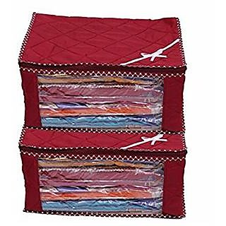 Kuber Industries trade; 3 Layered Quilted Multi Saree Cover Set of 2 Pcs  10 15 Sarees Capacity