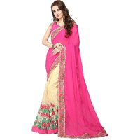 CRAZYDDEAL Multicolor Georgette Embroidered Saree With Blouse