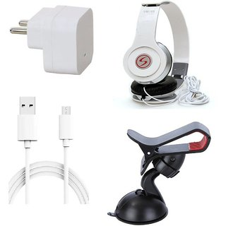 Premium Quality + Proper 1.5 Amp USB Charger + 1.5 meter Copper Embedded USB Cable (Data Transfer + Charging) + VM 46 3.5 mm Jack  Headphones + Mobile Car Holder Compatible With Intex Trend