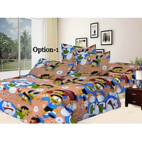 100% Cotton Cartoon Print Double Bed Sheet With Pillow Covers