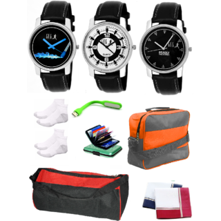 GUG Round Dial AD-10 Pack of 3 Stylish Analogue Wrist Watches With Fashion Accessories For Men And Boy's