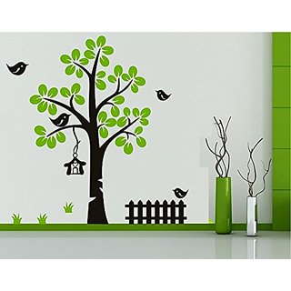 Asmi Collections Pvc Wall Stickers Beautiful Green Tree and Black Birds Cage AN065