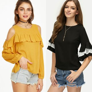 c87183c99f4da Buy Raabta Fashion Rayon Mustard Cold Shoulder And Bell Sleeve Combo Set of  2 Tops Online - Get 70% Off