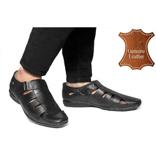 Woakers Men's Black Genuine Leather Sandals