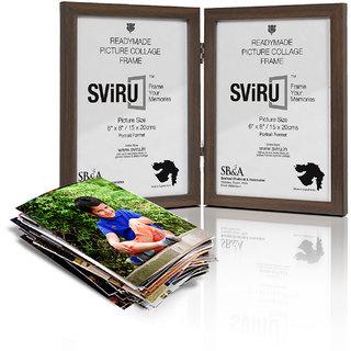 SViRU Hinged/Folding Photo Frame - 6X8 - Brown - Portrait