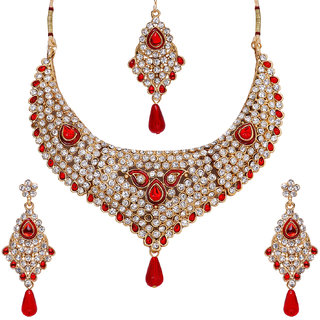 Penny Jewels Ethnic Studded Diamond Contemporary Latest Precious Classic Necklace Set For Women  Girls