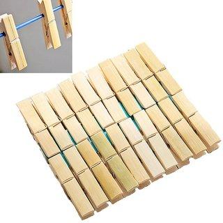 Bamboo Wooden Cloth Drying Clips Set - 40 Pcs Set