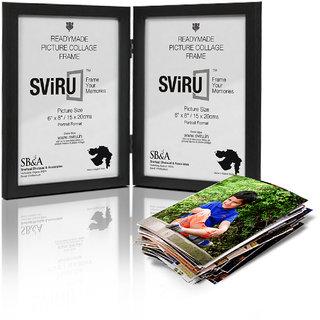 SViRU Hinged/Folding Photo Frame - 6X8 - Black - Portrait