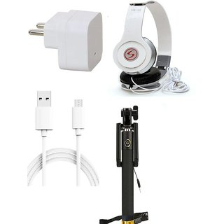 Premium Quality + Proper 1.5 Amp USB Charger + 3 meter Copper Embedded USB Cable (Data Transfer + Charging) + VM 46 3.5 mm Jack  Headphones + Aux Enabeled Selfie (Monopod) Compatible With Intex Aqua Star 4G