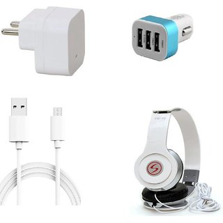 Premium Quality + Proper 1.5 Amp USB Charger + 1.5 meter Copper Embedded USB Cable (Data Transfer + Charging) + VM 46 3.5 mm Jack  Headphones + 3 Jack USB Car Charger Compatible With Intex Aqua Power HD
