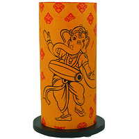 Shady Ideas Golden Yellow With Black, Red Print Ganu Baba Lamp