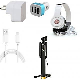 Premium Quality + Proper 1.5 Amp USB Charger + 3 meter Copper Embedded USB Cable (Data Transfer + Charging) + VM 46 3.5 mm Jack  Headphones + 3 Jack USB Car Charger + Aux Enabeled Selfie (Monopod) Compatible With Xolo Era