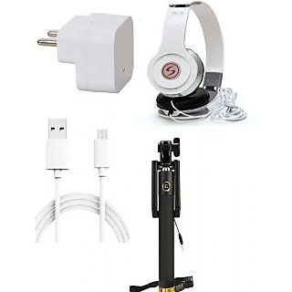 Premium Quality + Proper 1.5 Amp USB Charger + 1.5 meter Copper Embedded USB Cable (Data Transfer + Charging) + VM 46 3.5 mm Jack  Headphones + Aux Enabeled Selfie (Monopod) Compatible With Samsung Galaxy J1