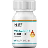 INLIFE  Vitamin D3 (Cholecalciferol), 1000 IU, 60 Capsules For Bone Health