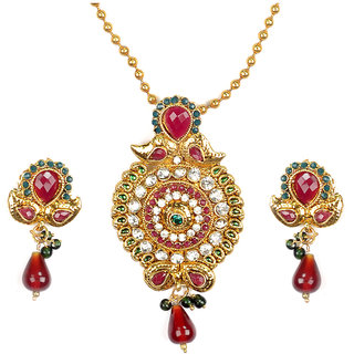 Asian Pearls & Jewels Pendant Set With Kundan Stones