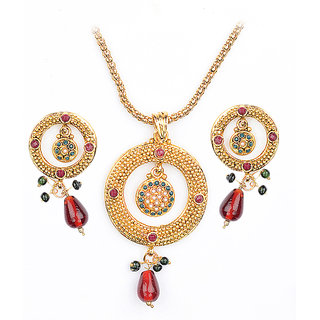 Asian Pearls & Jewels Pendant Set With Kundan Stones - 5068174