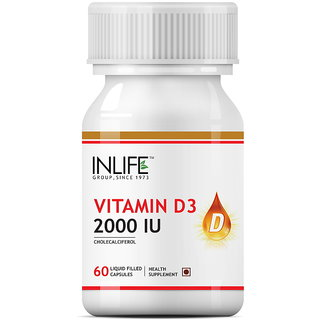 INLIFE  Vitamin D3 (Cholecalciferol), 2000 IU, 60 Capsules For Bone Health