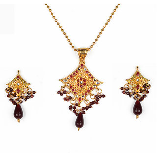Asian Pearls & Jewels Maroon And Golden Pendant Set