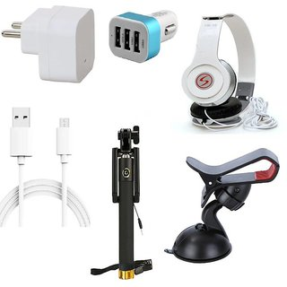 Premium Quality + Proper 1.5 Amp USB Charger + 3 meter Copper Embedded USB Cable (Data Transfer + Charging) + VM 46 3.5 mm Jack  Headphones + 3 Jack USB Car Charger + Aux Enabeled Selfie (Monopod) + Mobile Car Holder Compatible With Intex Aqua Pro