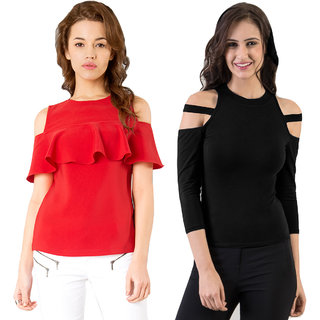 93ae97aba43e61 Buy Aashish Garments - Combo of 2 Tops (Red Ruffle Top + Black Cold  Shoulder Top) Online - Get 30% Off
