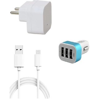 Premium Quality + Proper 1.5 Amp USB Charger + 3 meter Copper Embedded USB Cable (Data Transfer + Charging) + 3 Jack USB Car Charger Compatible With Lava Iris Icon