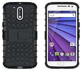 Moto G4 Plus Plus Armor Stand Back Cover Case Black