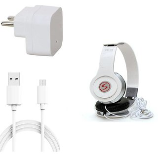 Premium Quality + Proper 1.5 Amp USB Charger + 1.5 meter Copper Embedded USB Cable (Data Transfer + Charging) + VM 46 3.5 mm Jack  Headphones Compatible With Micromax Canvas Nirto 3