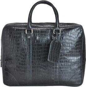 Mandava 100  Genuine Leather 16.2 inch Black Croco Printed Unisex Laptop Bag