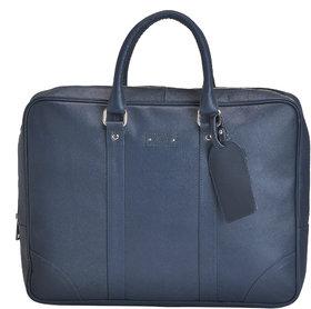 Mandava 100 Genuine Safiano Leather 16.2 inch Dark Blue Unisex Laptop Bag