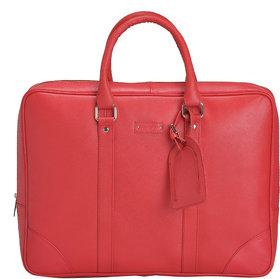 Mandava 100  Genuine Safiano Leather 16.2 inch Red Unisex Laptop Bag