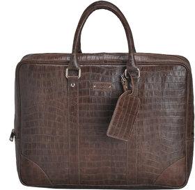 Mandava 100  Genuine Leather 16.2 inch Brown Croco Printed Unisex Laptop Bag
