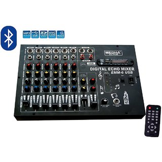 MEDHA PROFESSIONAL 6 CHANNEL STERO ECHO MIXER WITH DIGITAL MEDIA PLAYER , BLUETOOTH