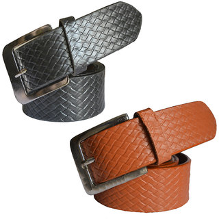 Ws deal black and brown needle pin point buckle belts pack of two combo