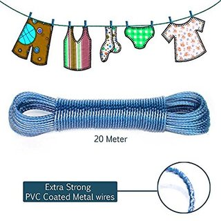 OURZ Clothesline Heavy Duty Wet Cloth Laundry Rope PVC Coated Metal Cloth Drying Wire - 20 metres