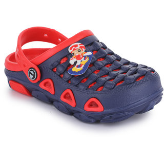 Phedarus Comfortable Clogs for Boys - Navy Blue & Red