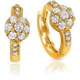 Mahi Gold Plated White Petals Charm Earrings (ER1108473G)