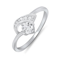 Mahi Rhodium Plated Arched-Glitter Ring (FR1100080)